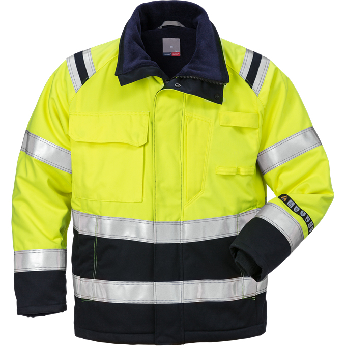 FRIS 4185 - FRISTADS Winter Jacket 4185 ATHS Hi-Vis Yellow Navy
