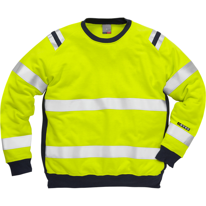 FRIS 7076 - FRISTADS Sweatshirt 7076 SFLH Hi-Vis Yellow Navy
