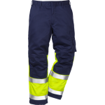 FRISTADS Flame Trousers Hi-Vis  cl 1 2051 FBPA Yellow/Navy - Class 1, 13 cal/cm²