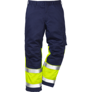 FRISTADS Flame Trousers Hi-Vis  cl 1 2051 FBPA Yellow/Navy – Class 1, 13 cal/cm²