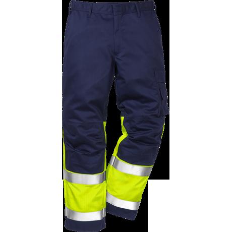 FRISTADS Flame Trousers Hi-Vis  cl 1 2051 FBPA Yellow/Navy - Class 1, 13 cal/cm²