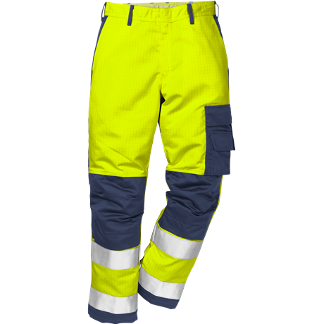 FRISTADS Flame Trousers Hi-Vis  cl 2 2042 FBPA Yellow/Navy - Class 1, 13 cal/cm²