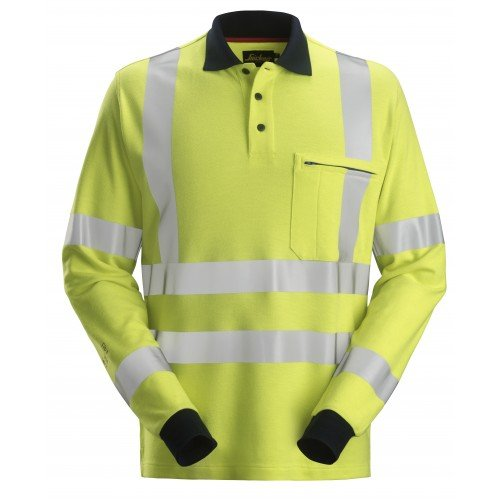 Snickers Workwear ProtecWork Long Sleeve Polo Shirt Higi-Vis Class 3